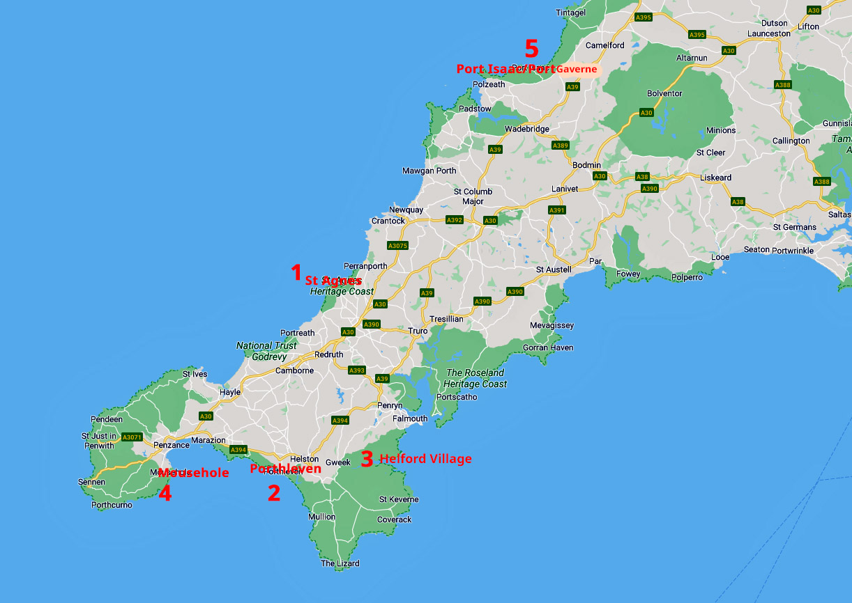 Karte Conrwall